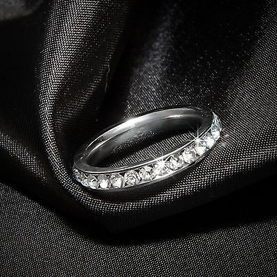 - Womens Eternity Wedding BAND Anniversary RING White Gold Plated Bridal SIZE 5-11