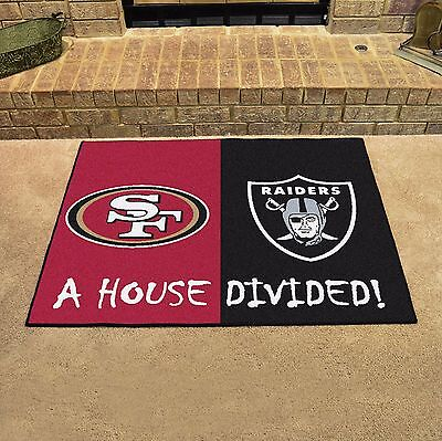 Oakland Raiders - San Francisco 49ers House Divided All Star Area Rug Mat