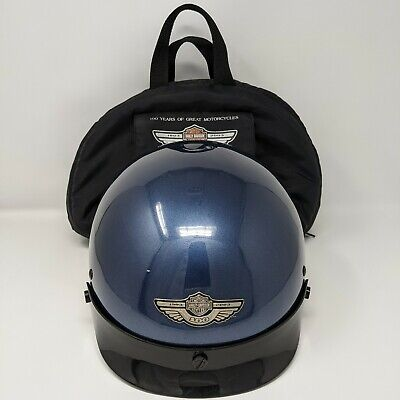 Harley Davidson 100th Anniversary 2003 Motorcycle Helmet with Bag Size XL Blue