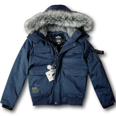 NWT Hollister by Abercrombie&Fitch Men's Down Bomber Jacket Navy Blue Ski Coat