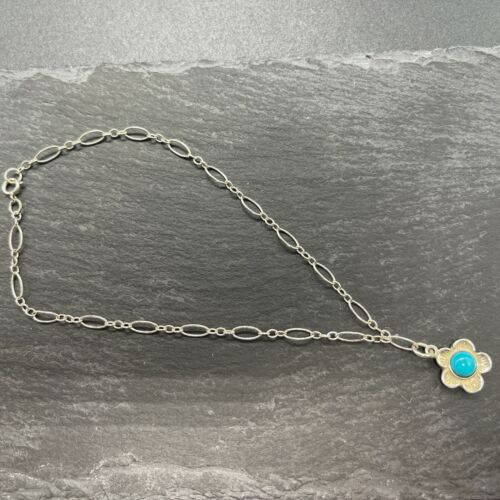 Vintage Bracelet Flower Polished Turquoise 925 Sterling Silver Southwestern