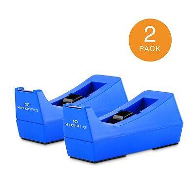 Mackoffice Desktop Tape Dispenser Blue 2 Pack For Office And School Supply