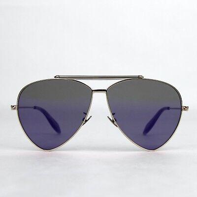 Alexander Mcqueen Aviator Sonnenbrille Blau Reflektierend AM0058S 442139 7015