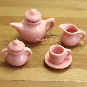 Dollhouse Miniature Kitchen Item 7 Pcs Porcelaine Pink Tea Set SPO172