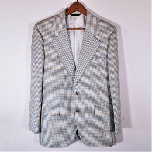 Vintage 60s Cricketeer Plaid Check Disco LEISURE SUIT JACKET Blazer Coat USA 38