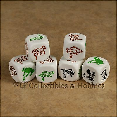 NEW 6 Species Dice Set Fish Ant Frog Horse Eagle Turtle Game Bunco D6 Amimal ](Turtle Fish Games)