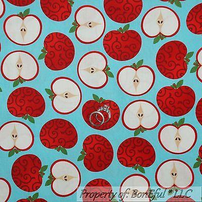 Boneful Fabric Cotton Quilt Aqua Red Swirl Apple Fruit Teacher School Girl Scrap