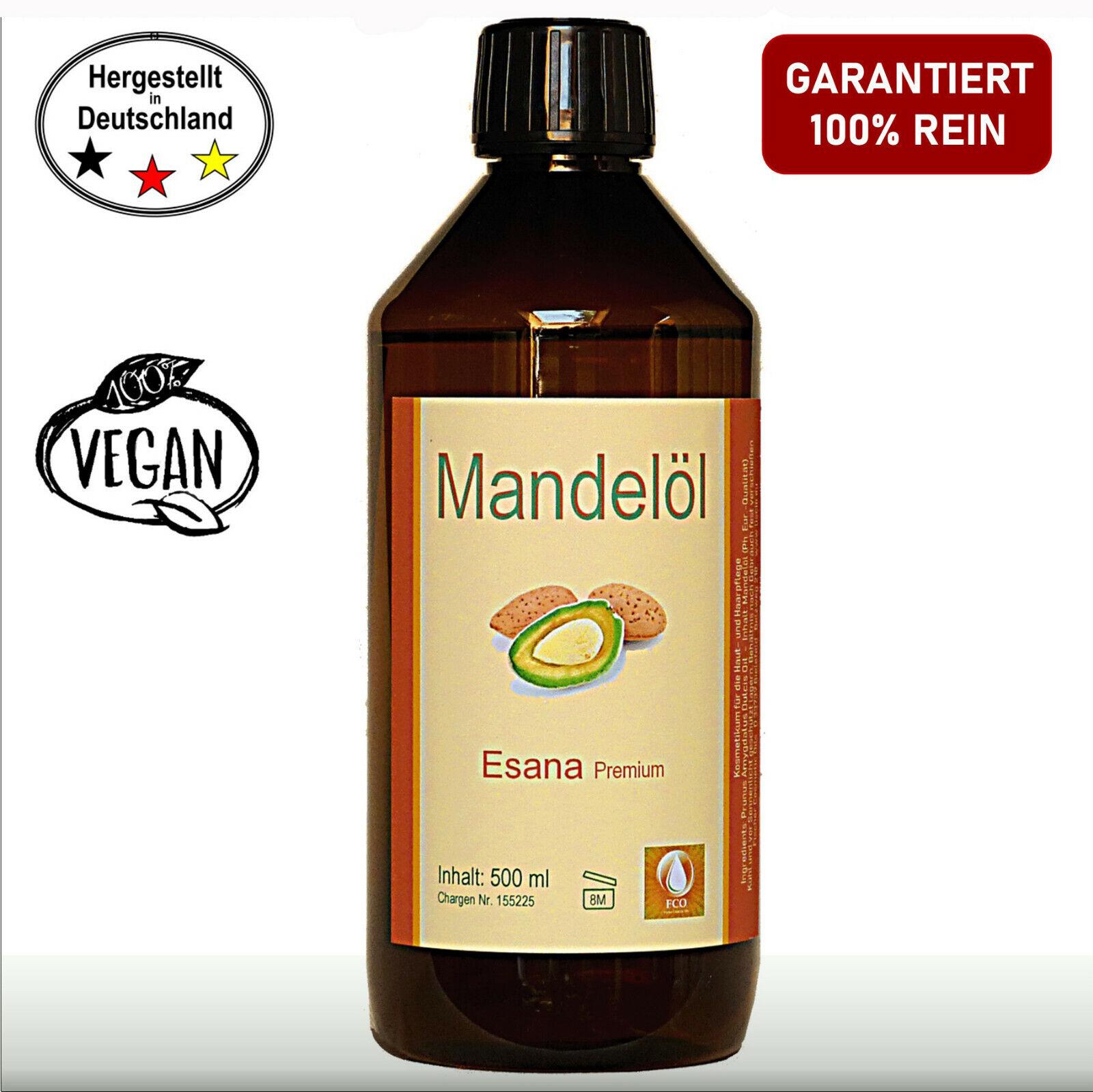 Mandelöl 500 ml süß,Qualitäts-Mandelöl rein für Hautpflege, Kosmetik, Massage