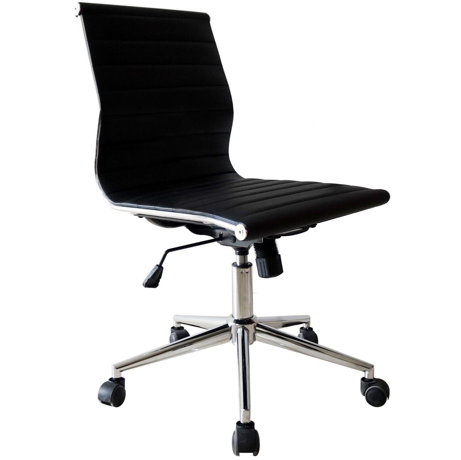 2 Piece Modern Executive Office Chair Mid back PU Leather Armless Tiltable