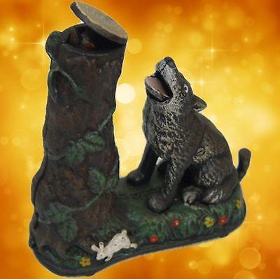 Spardose Wolf mechanisch Baum Sammler Weihnacht Geschenk Vintage Deko Spielzeug1