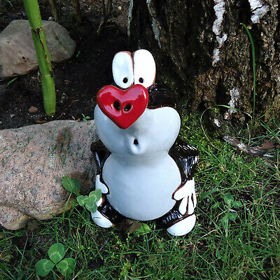 Keramik Maulwurf Herz Garten-Stecker Kantensitzer Garten Deko Skulptur Figur NEU