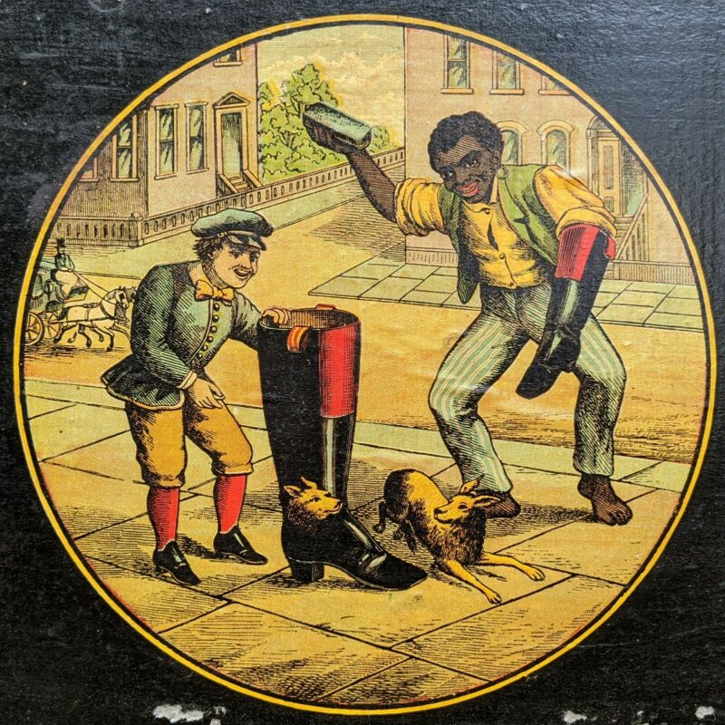 Antique Black Americana Crump Label Co. Shoeshine Scene Wood Ribbon Box