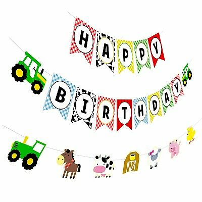 Happy Bday Banners (Farm Birthday Banner,Tractor Happy Birthday Sign with Animal Garland,Rustic)