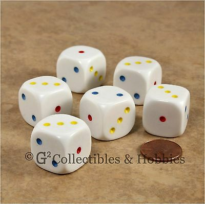 NEW 6 Large 20mm Spotted White w/ Multi-Color Pips D3 Set 1 to 3 Twice Game Dice for sale  Columbus