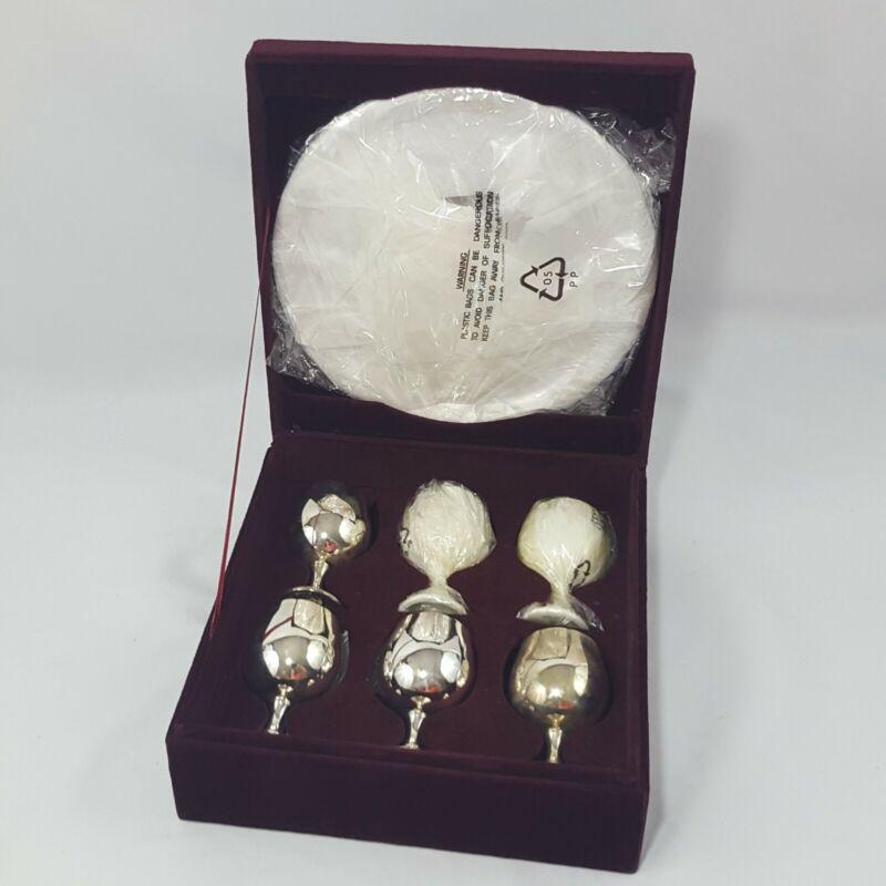 Godinger Silver Art Co GSA Set 6 Goblet Liquor Glasses & Tray Silverplate