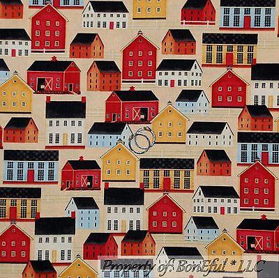 Costume Shop City (BonEful Fabric FQ Cotton Quilt Country Town Farm House Barn School Shop)