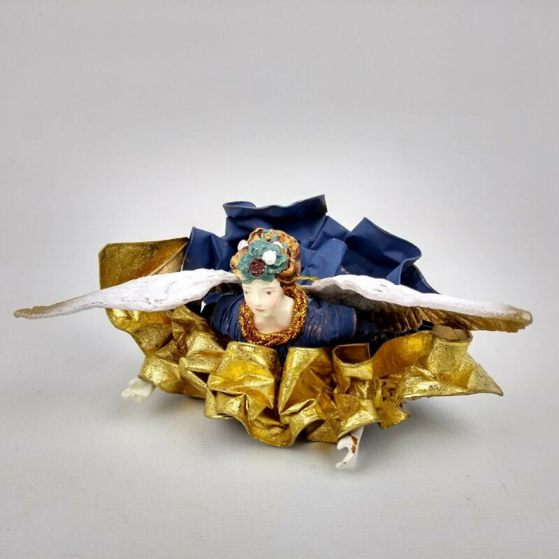 Vintage Paper Mache Angel Christmas Ornament Flying Blue Gold