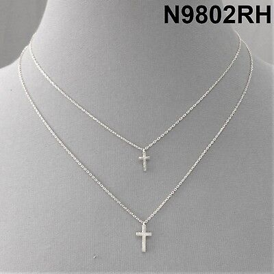 - Religious Design Metal Cross Charms Silver Finish Double Layered Dainty Necklace