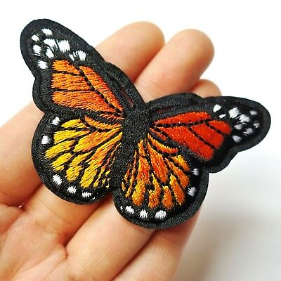 """Orange Monarch Butterfly Patch Iron-On/Sew-On Embroidered Applique, 3"""" Large"""
