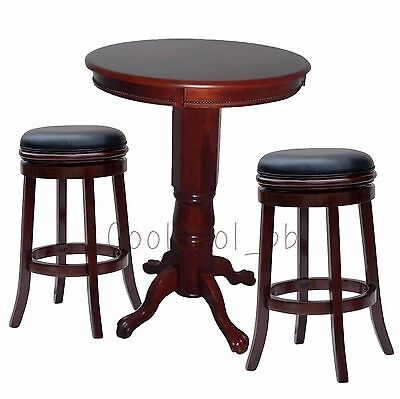 Cherry 3 Piece Backless Stool Pub Table Set Home Living Dining Room Furniture 3 Piece Cherry Pub Table