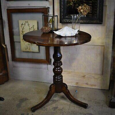 Antique Late Georgian Mahogany Pedestal Tripod Table Wine Lamp Occasional Table