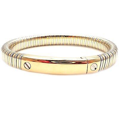 Authentic! Vintage Van Cleef & Arpels 18k Yellow Gold Steel Bangle Bracelet