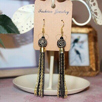 1920's/flapper style gold/black tassel long drop earrings with carved rose bead (1920 Earrings Flapper)