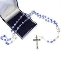 Azul Efecto Mármol Vidrio Rosario Cuentas + Perlas Bolitas + Caja De Regalo -  - ebay.es