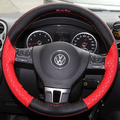 DIY Style PVC Steering Wheel Skin Wrap Cover Red & Black Best Fit & Good