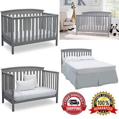 Adjustable Baby Crib 4 in 1 Convertible Sold Wood Convert to Toddler BED Colors