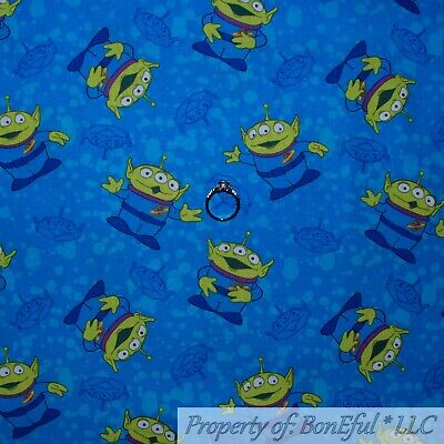 Baby Themed Movies (BonEful FABRIC FQ Cotton Quilt Blue Alien Toy Story Movie Disney Space Monster)
