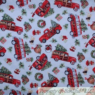 BonEful FABRIC Cotton Quilt White Winter Scenic Xmas Tree Red Truck Dog NR SCRAP