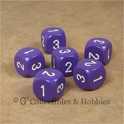 NEW Set of 6 D3 Six Sided 1 to 3 Twice Purple Game Dice D&D RPG 16mm Chessex for sale  Columbus