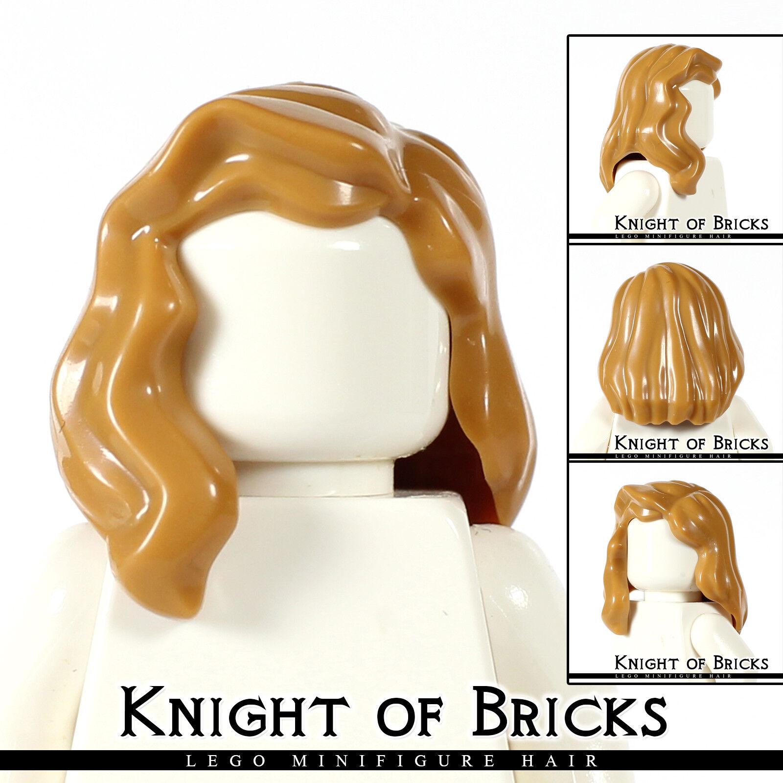 Figure Hair Mid Length Part Medium Nougat // Dark Flesh x5 Female NEW LEGO