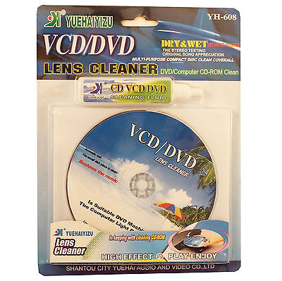Wet & Dry CD VCD DVD CD-ROM Stereo Head Lens Cleaner Disc + Cleaning Fluid H-608