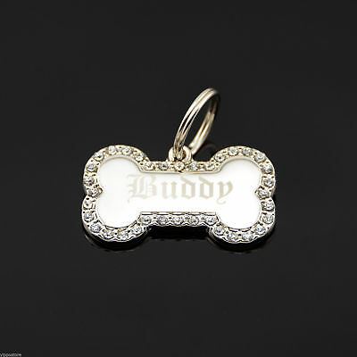 Custom Engraved Personalized Small Bone Shape w/ CZ Dog Metal Tag Pet ID - Bone Shape