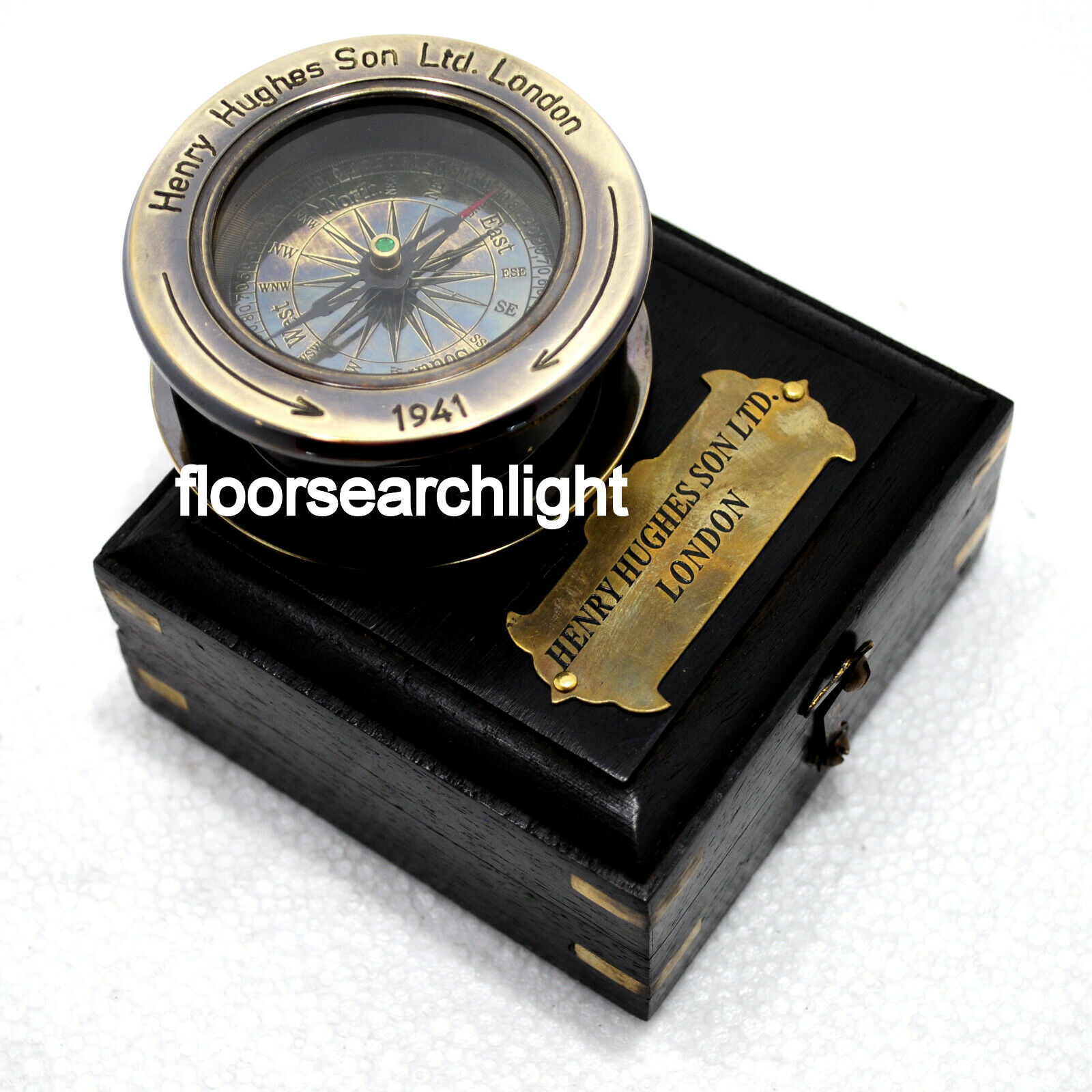 1941 HENRY HUGHES SON LONDON Antique Marine Compass With Black Wooden Box Gift