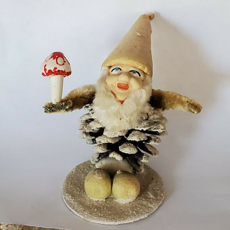 Antique Japan Pinecone Elf Smile Mushroom Spun Cotton Chenille Christmas