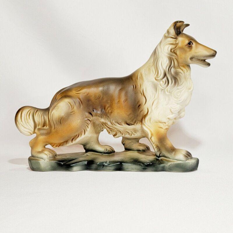 Vintage Porcelain Bisque Collie Dog Figurine on Base Matte EUC