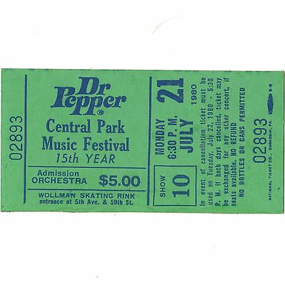 DEVO & LENNY KAYE Full Concert Ticket Stub NYC CENTRAL PARK 7/21/80 DR PEPPER