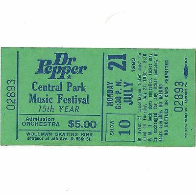 DEVO & LENNY KAYE Full Concert Ticket Stub NYC CENTRAL PARK 7/21/80 DR PEPPER
