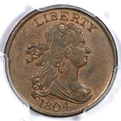 1804 C-1 R-3 Pcgs Au 55 Crosslet 4 Stems Draped Bust Half Cent Coin 1/2c