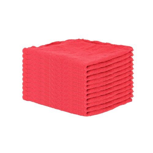 Pack of 10 Red Shop Towels - 12 x 14 Cleaning Rags for Homes Cars Auto Garage
