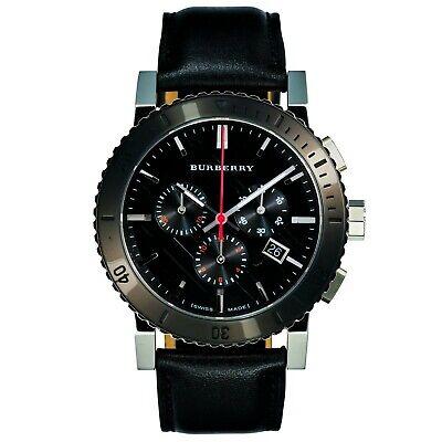 Burberry Mens chronograph watch black leather strap Swiss Movement BU9382