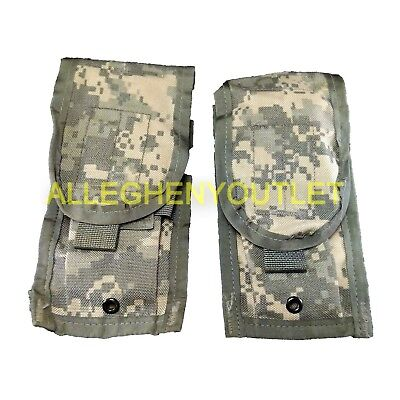 2 ea MOLLE ACU DOUBLE 30 Round Mag MAGAZINE POUCH Excellent Phone Knife POUCH