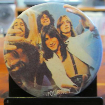"JOURNEY 'Frontiers' Era Vintage 2"" Group Photo Pinback Button; c1984; VG/EX Pin"