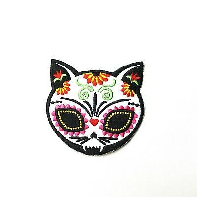 Sugar Skull Cat, Day of the Dead Embroidered Patch Iron-On/Sew On, Punk Alt - Sugar Skull Cat