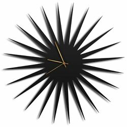 Mid-Century Modern Wall Clock Contemporary Kitchen Decor Minimalist Black Accent