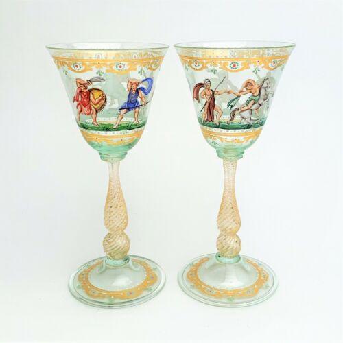 Pair Antique Salviati Venetian Hand Painted Wine Glass w/ Sabine Mythology Scene