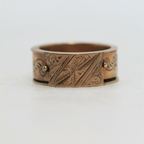 Antique 14k Gold Mourning Ring Hinged Hidden Braided Hair Victorian - JL309